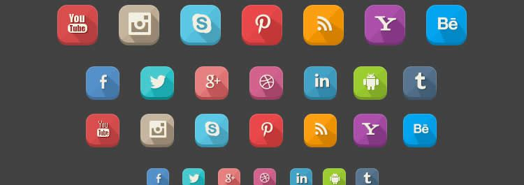 long shadow social media icon sets