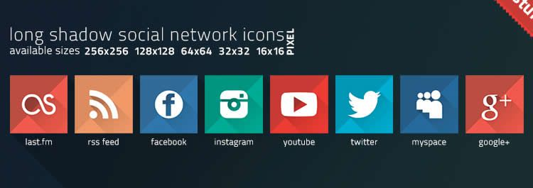 network long shadow social free icons media