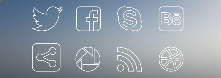 thin minimal social free icons media