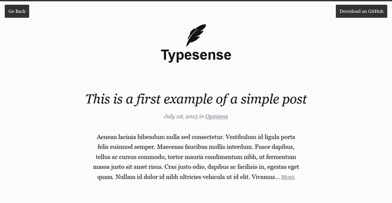 Typesense WordPress content-centric single column