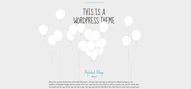 balloons parallax scrolling single-column free wordpress theme