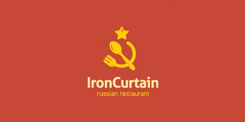iron curtain flat logo inspiration example