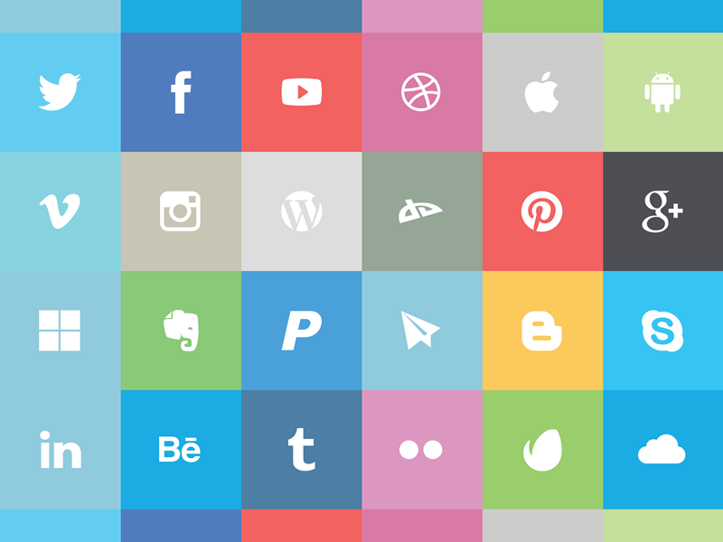 Free flat social icon set Preview