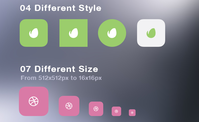 Free flat social icon set styles sizes
