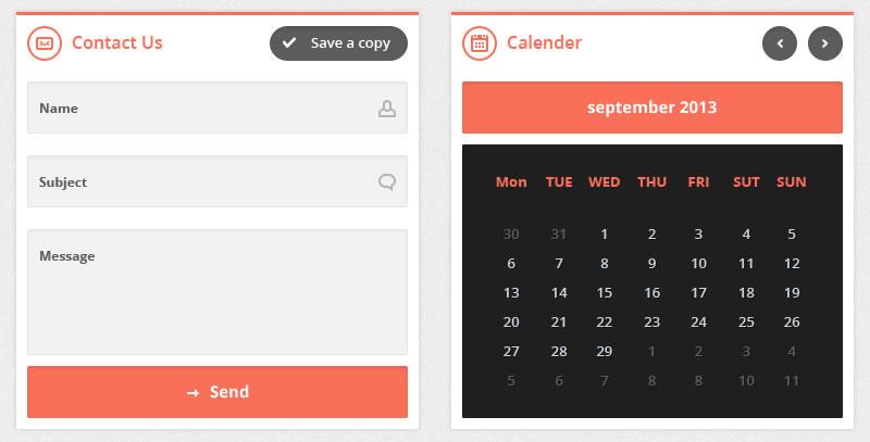 Flatty UI kit Free Flat UI Template widget contact details