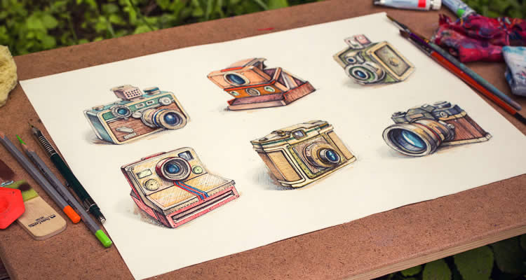 Vintage Camera Icons design icon pencil