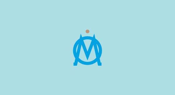 Olympique de Marseille minimal flat football soccer logos badges