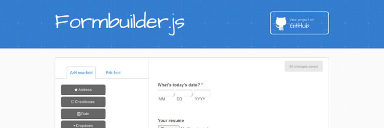 Formbuilder is a graphical interface for building webforms