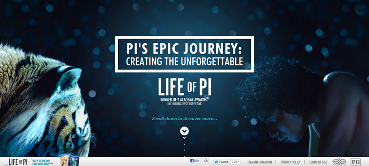 Pi's Epic Journey movie animated css parallax scrolling