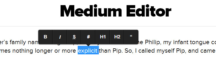 Medium Editor is a clone of medium.com inline editor toolbar