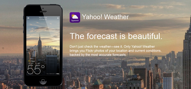 Yahoo! mobile photographic weather app design