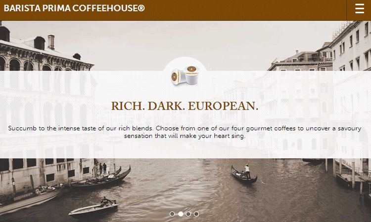barista prima homepage mobile webapp ui design