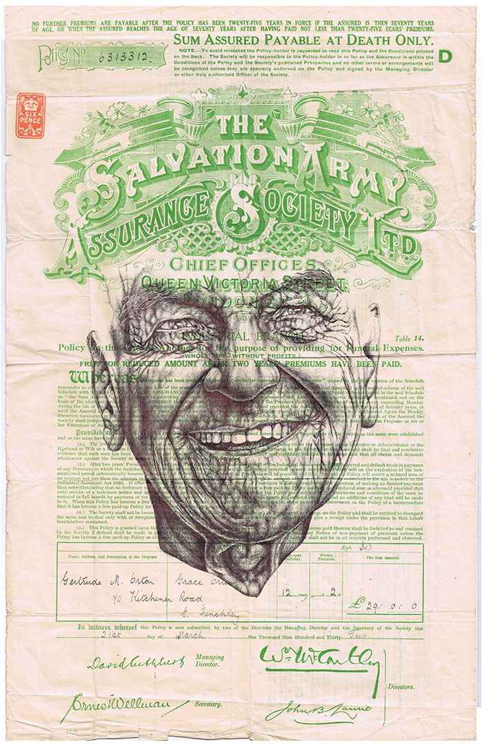 bic biro drawing on a Salvation Army 1932 document