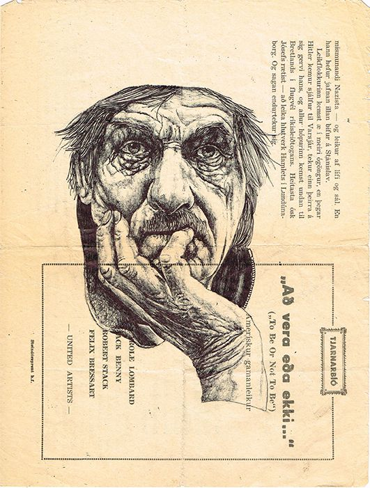 bic biro drawing on a vintage Icelandic program