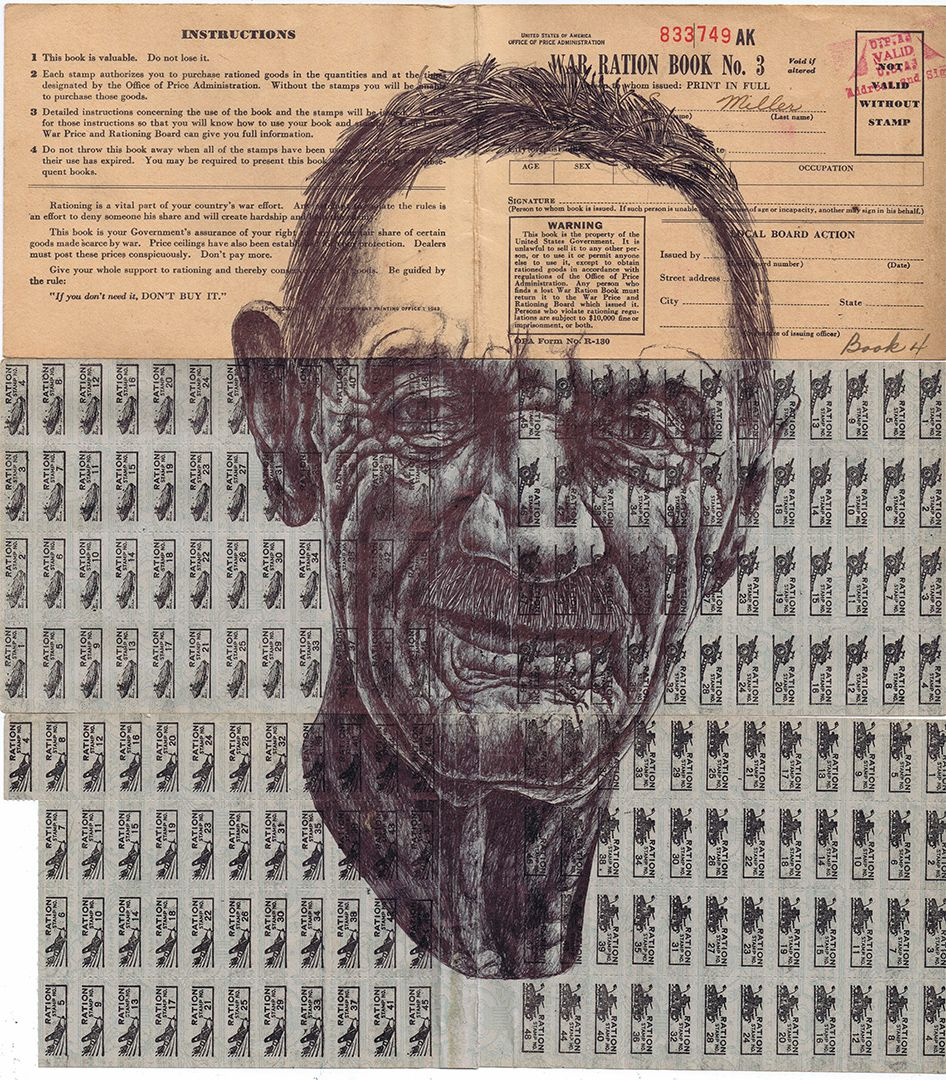 bic biro Drawing on a 1943 war ration book