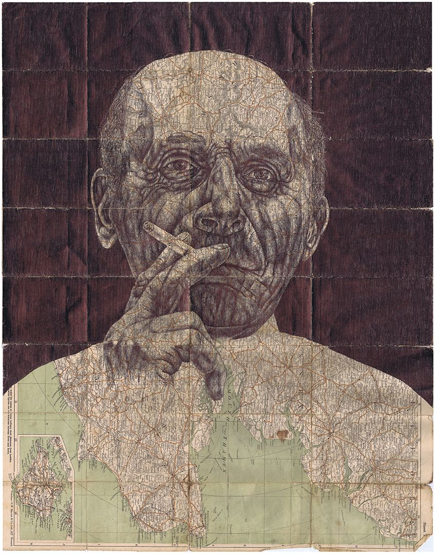 bic biro Drawing on an antique map of London