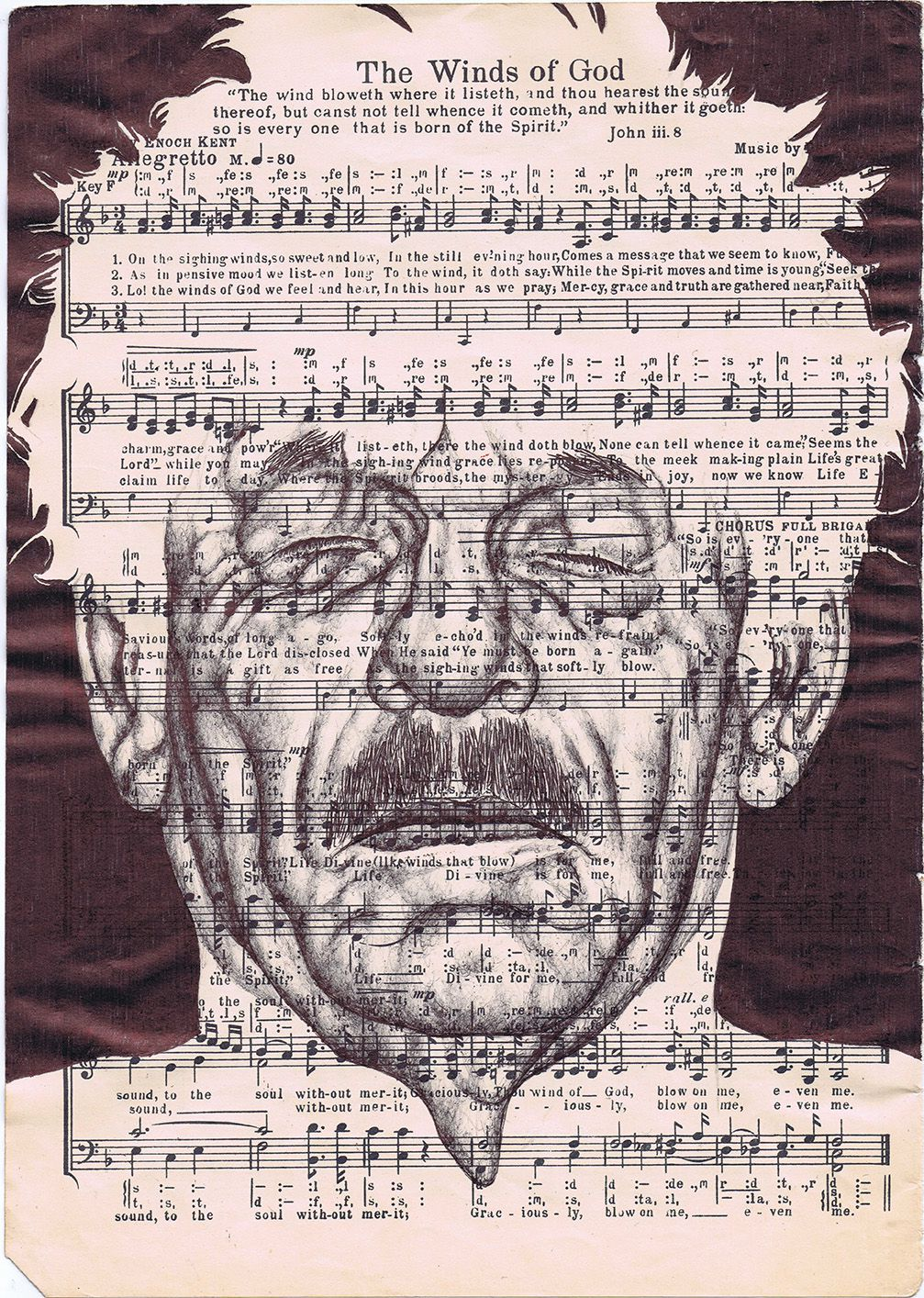 bic biro Drawing on a 1950s music sheet