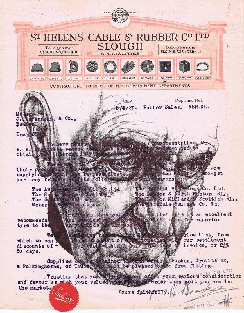 bic biroDrawing on a 1927 document