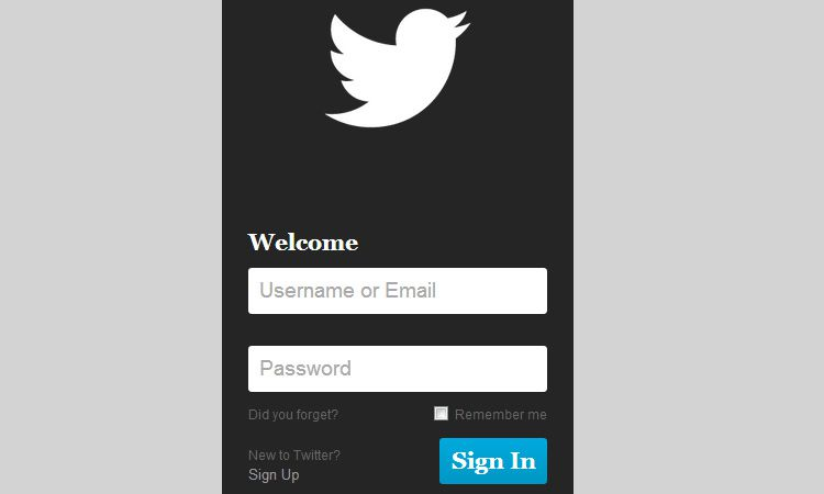 mobile twitter login form inputs html5 css3 design