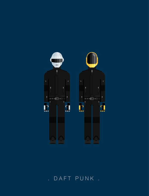 Daft Punk famous musician costume illustrations