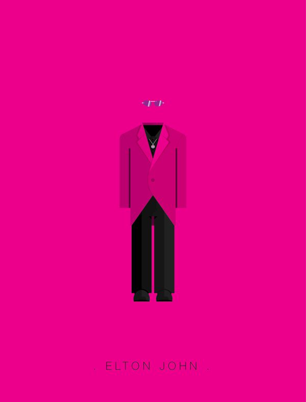 Elton John famous musician costume illustrations