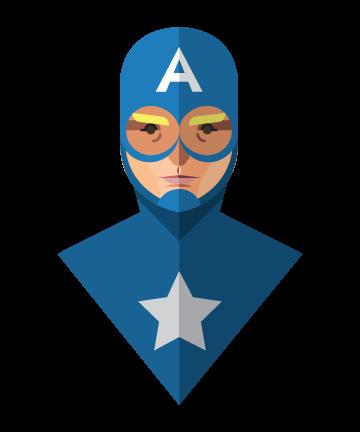 flat design superheroes minimal Captain America