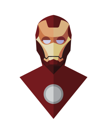 flat design superheroes minimal Iron Man