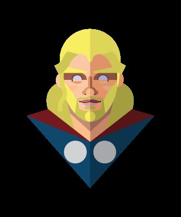 flat minimal superheroes Thor