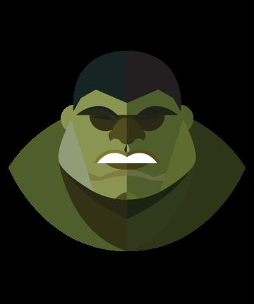 flat minimal superheroes Hulk