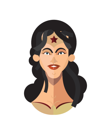 flat minimal superheroes Wonder Woman