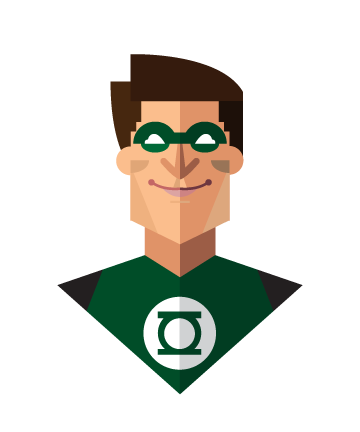 flat minimal superheroes Green Lantern