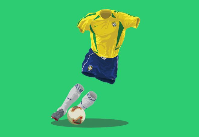 Brazil 2002 football illustrations