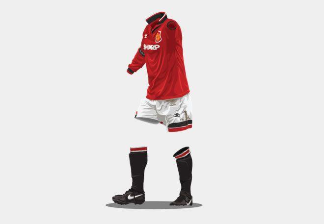 Manchester United 1994-1996 football kit illustration ghost