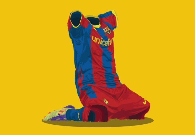 Barcelona 2010/11 football kit illustration