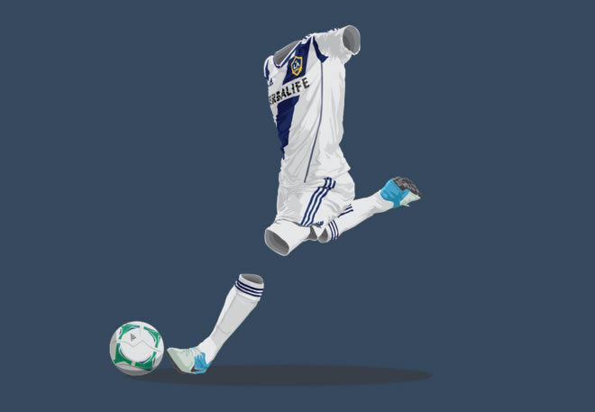 LA Galaxy 2012/13 football kit illustration