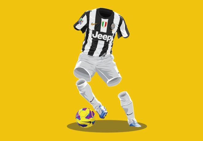 Juventus 2012/13 football kit illustration
