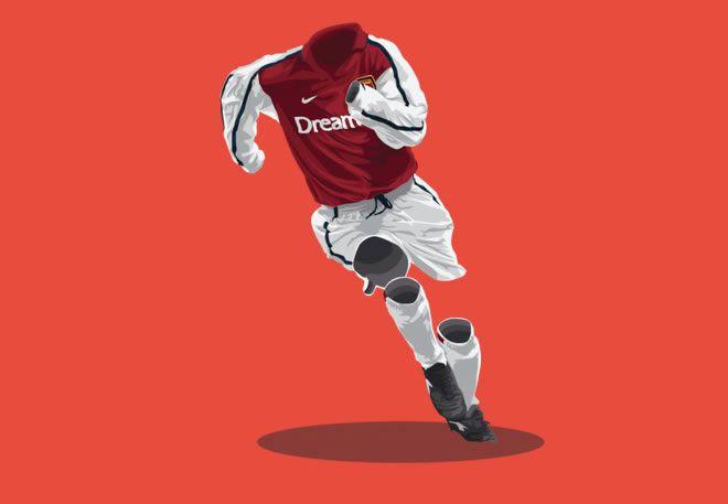 Arsenal 2001/02 football kit illustration