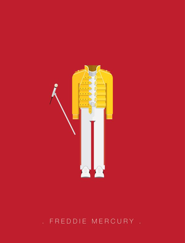 Freddie Mercury famous musician costume illustrations
