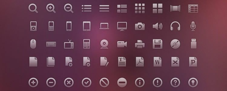Vector Glyph Icons 120 Icons, PSD