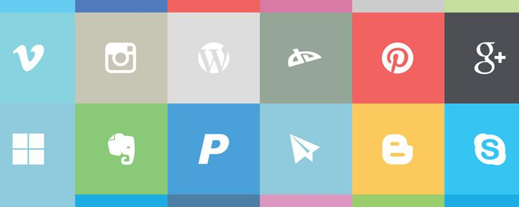 Flat Social Icon Set 24 Icons, PSD
