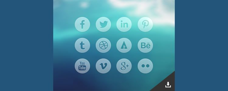 Round Transparent Social Media Icons 12 Icons, PSD