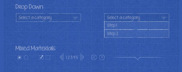 Blueprint Wireframe Kit PSD
