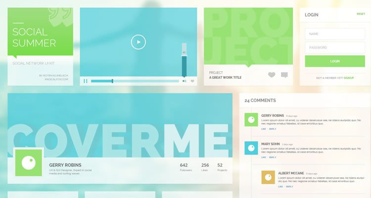 Social Summer UI Kit designers freebies