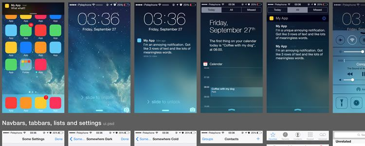 iOS 7 UI Elements designers freebies