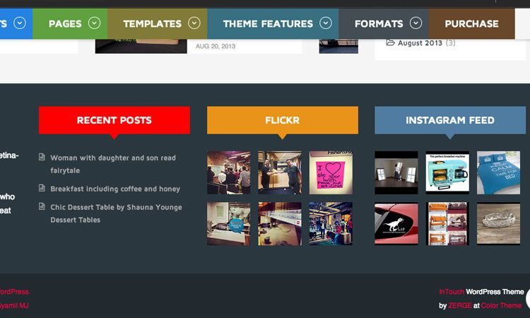 intouch wordpress premium theme design footer api links