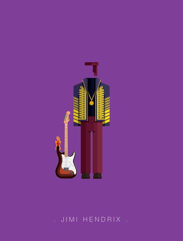 Jimi Hendrix famous musician costume illustrations