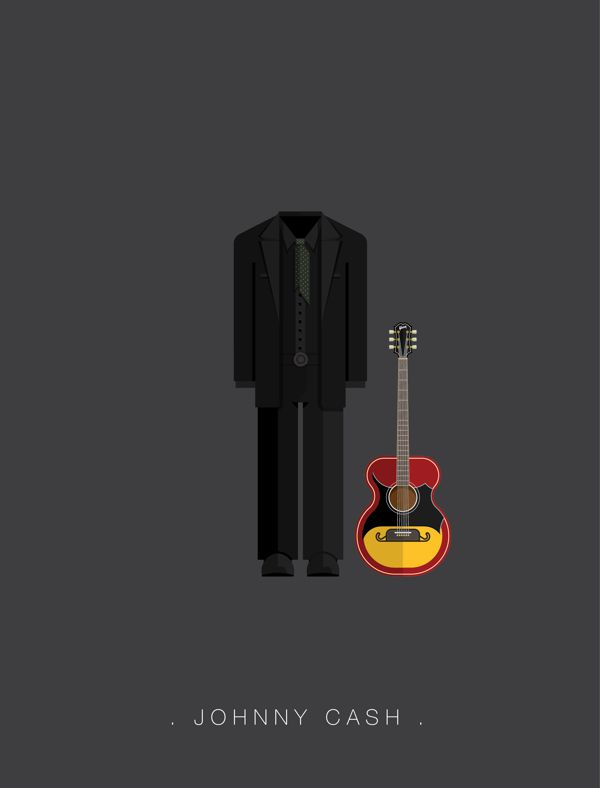 Johnny Cash famous musician costume illustrations