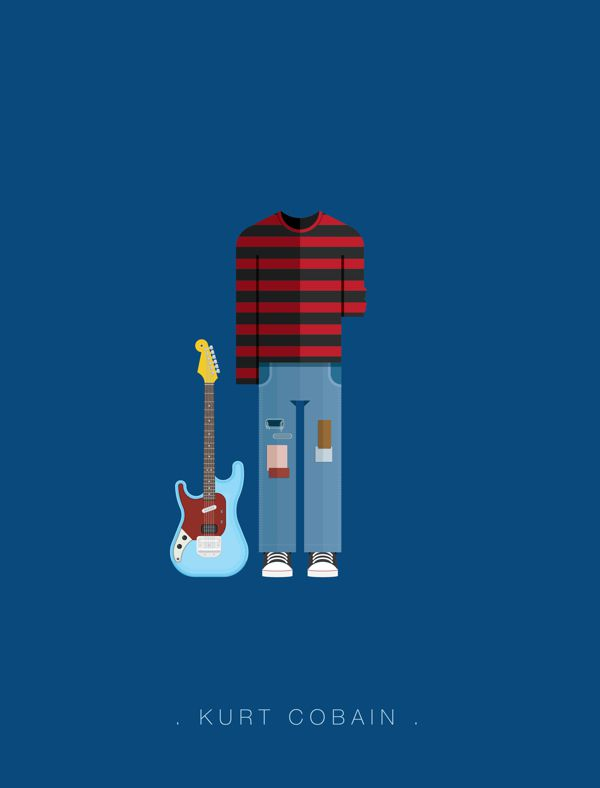 Kurt Cobain famous musician costume illustrations