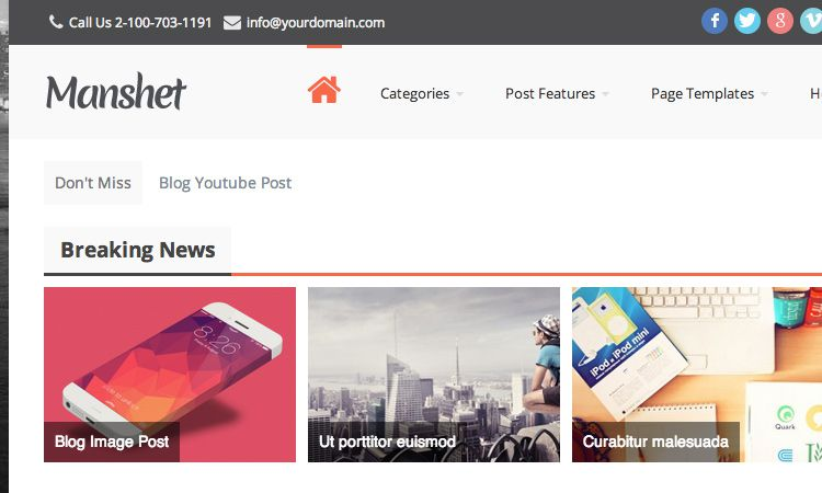 Manshet Premium WordPress Theme Homepage Breaking News