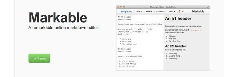 markdown editor Markable.in